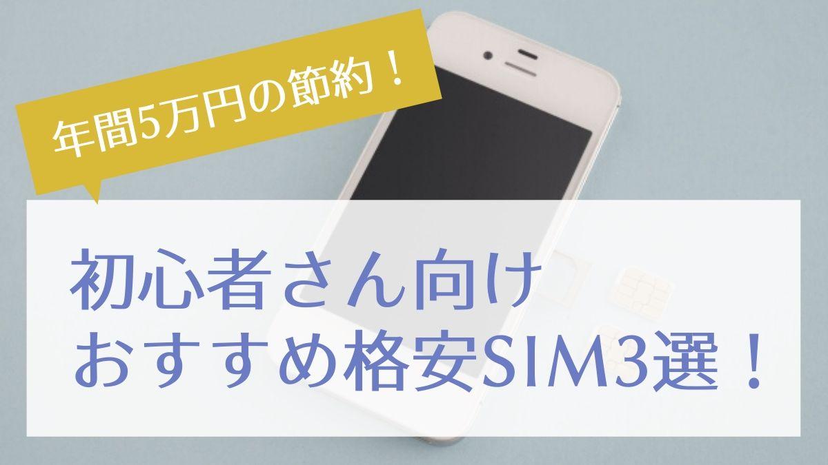 【年間5万円の節約】固定費削減はスマホ代から!【初心者さん向けおすすめ格安SIM3選】