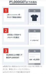 「メルペイ」.st(ドットエスティ)ネット決済で1000ポイント還元キャンペーン!